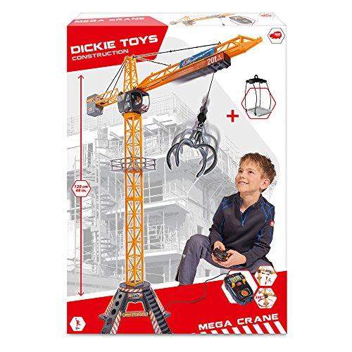 Dickie Toys Mega Crane, elektrischer Kran mit Fernbedienung, für Kinder ab 3 Jahren, 120 cm hoch, mit Greifarm, Seilwinde, Kabine, Ladeplattform