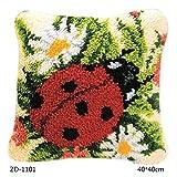 GROOMY Segmento Ricamato, Kit Tappeto Intrecciato Fai da Te Flower Segmento 3D Cuscino Ricamato Lana Punto Croce - 1101