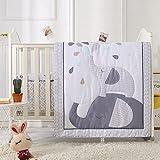 Juego de ropa de cama para bebé, 3 piezas, con faldón de cama, edredón de 80 x 100 cm, protector de cuna de algodón para bebé, juego de ropa de cama infantil OekoTex, pequeño dinosaurio)