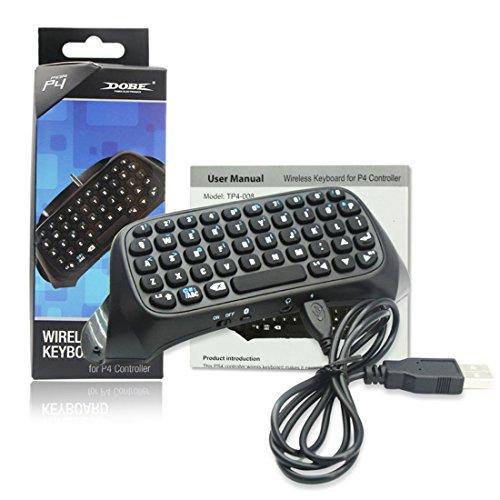 Preisvergleich Produktbild Mini-Tastatur Chat Controller für PlayStation 4,  2, 4-G-Empfänger-Chat-Pad Nachrichtentastatur für PS4 / PS4 Slim / PS4 Pro-Controller (schwarz)