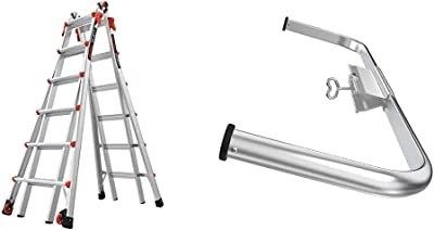 Little Giant Ladders, Velocity with Wheels, M26, 13-23 Foot, Multi-Position Ladder, Aluminum, Type 1A, 300 lbs Weight Rating, (15426-001) & Wing Span/Wall Standoff