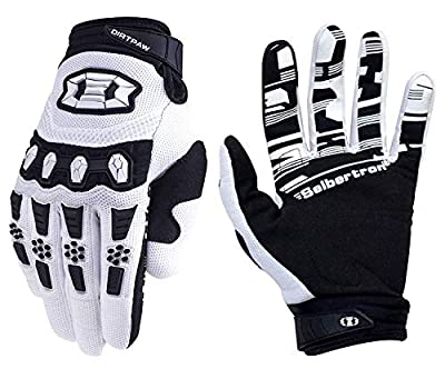 Seibertron Youth Dirtpaw BMX MX ATV MTB Racing Mountain Bike Bicycle Cycling Off-Road/Dirt Bike Gloves Road Racing Motorcycle Motocross Sports Gloves Touch Recognition Full Finger Glove White L