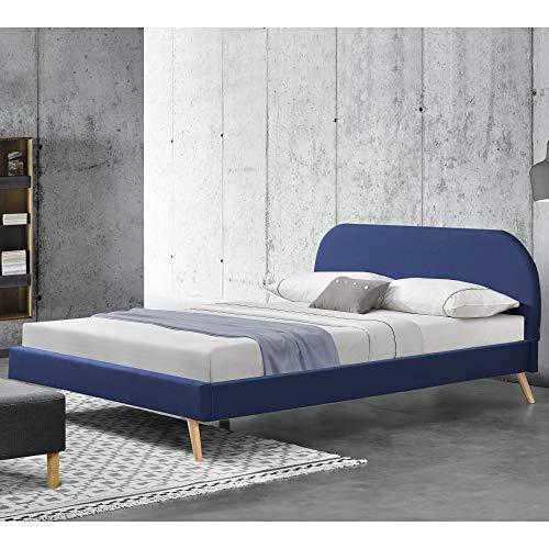 Corium Struttura Letto Imbottito con Testiera 140 x 200 cm Letto Matrimoniale/Francese con Rivestimento in Tessuto - Blu