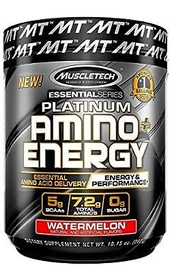 Pre Workout + BCAA Amino Acids | MuscleTech Amino + Energy | Preworkout Powder + BCAAs | Amino Acids Supplement | Watermelon (30 Servings)