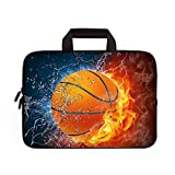 14 15 15.4 15.6 inch Laptop Handle Bag Computer Protect Case Pouch Holder Notebook Sleeve Neoprene Cover Soft Carrying Travel Case for Dell Lenovo Toshiba HP Chromebook ASUS Acer (Basketball)