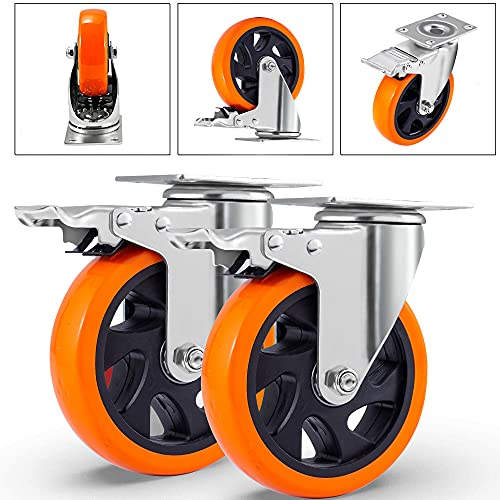 516o1TkRBeS. SL500  - D&L Ruedas giratorias de 5 pulgadas, 1500 libras, ruedas de alta resistencia con freno de poliuretano, juego de 4 ruedas de bloqueo doble, naranja DL-I5-001