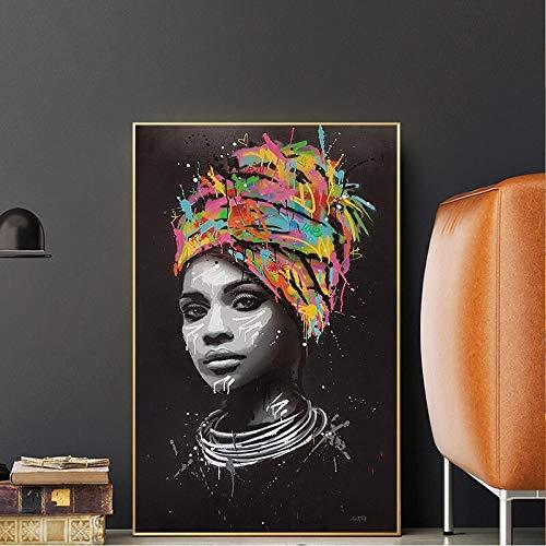 Abstracte zwarte Scandinavische vrouw poster en print canvas olieverf portret pop art muur fotolijst frameloze schilderij 50x75cm