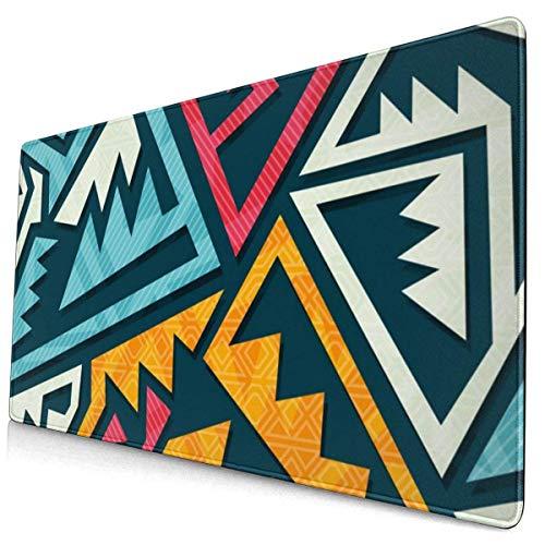 Farbige Tribal Culture Gaming-Mausunterlage, erweiterte große Mausmatte Schreibtischunterlage, genähte Ränder Mousepad, lange rutschfeste Gummi-Mausunterlagen 29,5 x 15,7 Zoll Tastatur-Mausunterlage