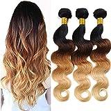 Best Hair Weave Blonde 3 Bundles - Ombre Brazilian Hair Body Wave Bundles, Ombre Human Review