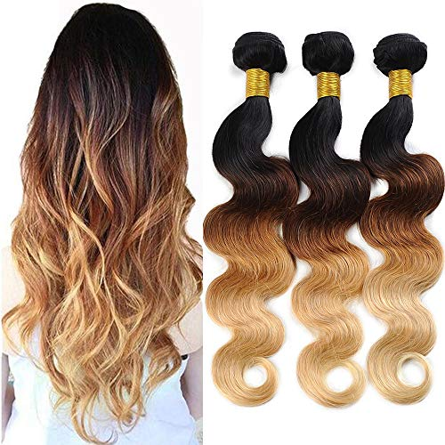 Ombre Brazilian Hair Body Wave Bundles, Ombre Human Hair Bundles 3 Tone Ombre Weave Hair Bundles 100% Human Hair Ombre Blonde 3 Bundles (16 18 20 inch)