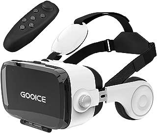 「改進版」Gooice 3D VRゴーグル Bluetoothリモコン付属 VRヘッドセット イヤホン 3D動画 ゲーム 映画 映像 効果 4.7~6.2インチ iPhone android などのスマホ対応