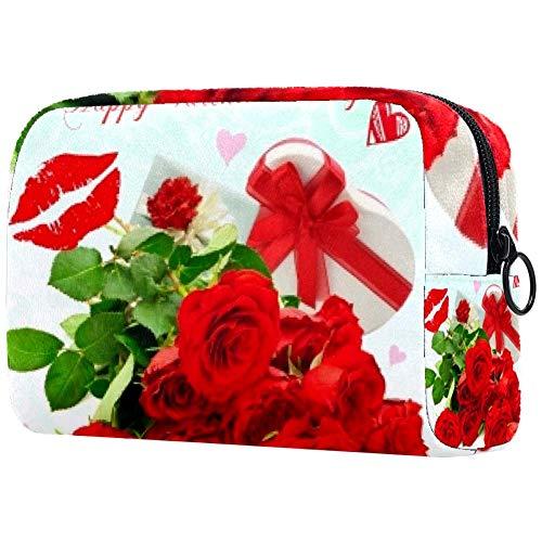 Trousse de toilette personnalisée pour femme - Trousse de toilette portable - Sac à main - Organisateur de voyage - Grande rose rouge