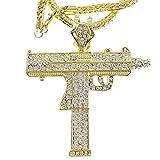 Bling Cartel Iced Uzi Submachine Machine Gun Charm Pendant Gold Finish Necklace Franco Hip Hop Chain