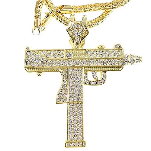 UZI Halskette mit Pistolen-Anhänger, Gold-Finish, Hip-Hop-Kette