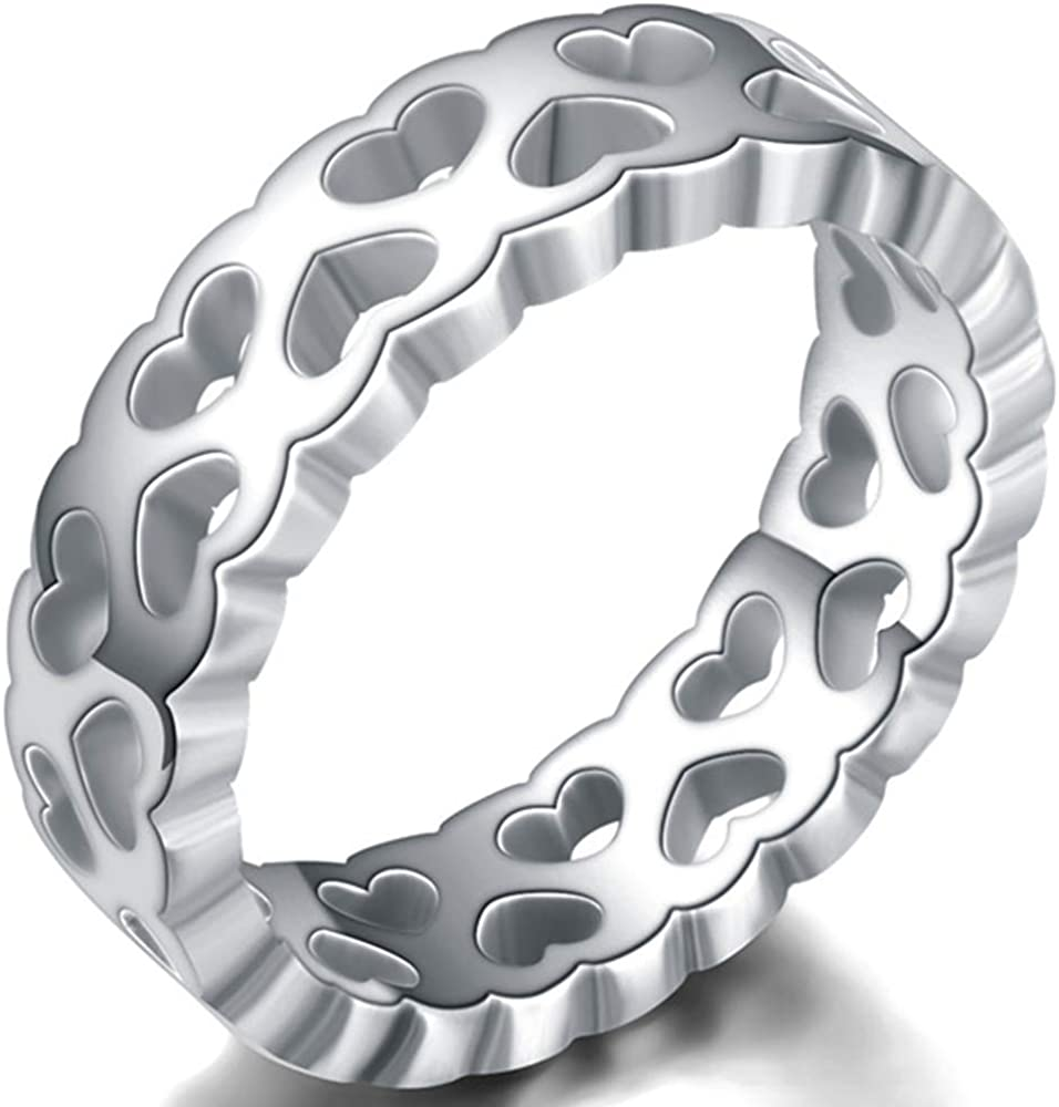 Jude Jewelers 6mm Stainless Steel Heart Filled Inlay Wedding Band Promise Statement Ring