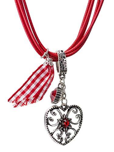Trachtenkette Alpenherz eleganter und funkelnder Edelweiss Anhänger mit Strass - Trachtenschmuck Kette für Dirndl und Lederhose (Rot)