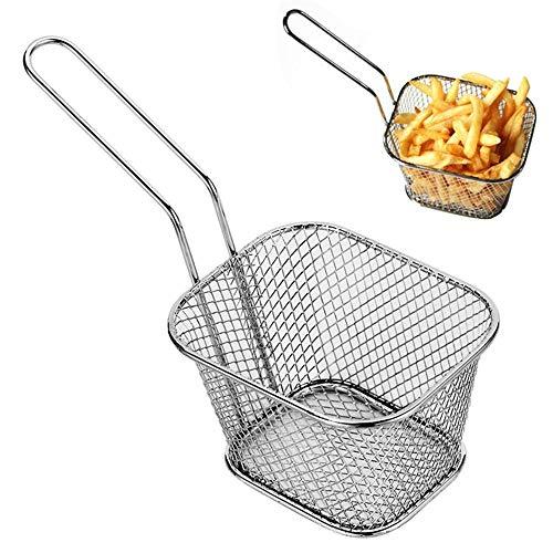 NBSXR 2 stks RVS Mini Frietmand Vierkante Frituurmanden, FDA Grade Keuken Koken Tool, voor Chips, Fries, Ui Ringen en Meer