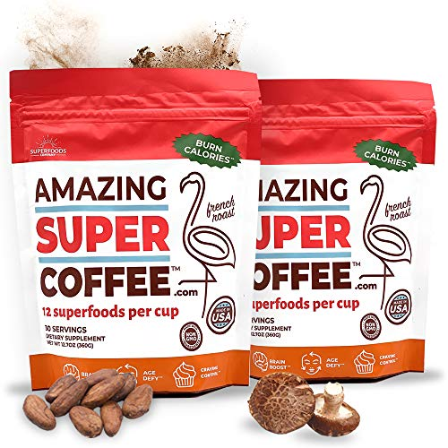 Super Amazing Coffee -- 60 Servings -- 12 Superfoods Per Cup -- Natural, Non-GMO, Sugar-Free -- Drop Pant-Sizes & Boost Brain Power