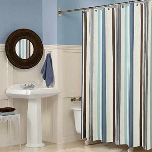 XYHX badkamer douchegordijn toilet waterdichte meeldauw gemakkelijk te reinigen dikke polyester stof streep patroon afdrukken gratis douchegordijn kunststof haak