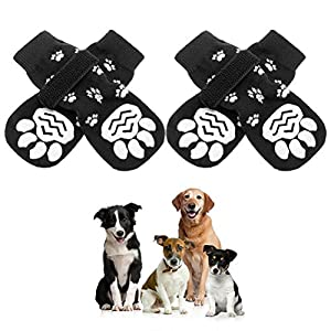 SCENEREAL Anti-Slip Dog Socks with Paw Pattern – Adjustable Pet Paw Protection for Puppy Indoor Wear, Traction Control On Hardwood Floor