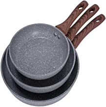 Aluminum frying pans set 3 pieces gray color