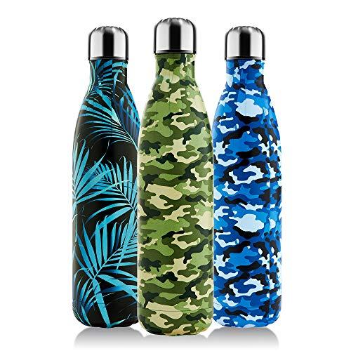 Honhike Botella de agua de acero inoxidable, 750 ml, con aislamiento al vacío, sin BPA, a prueba de fugas, para deportes, fitness, exteriores, camping (verde camuflaje, 750 ml)