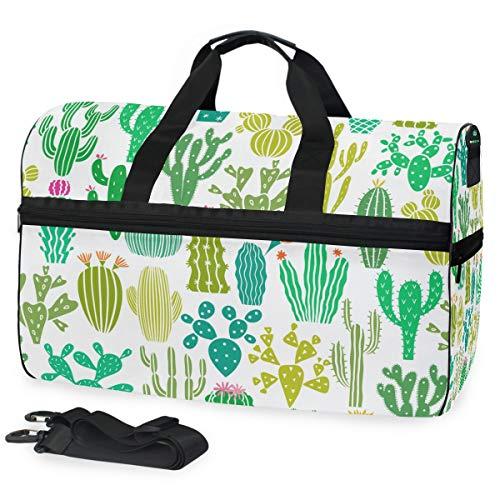 Oarencol Reisetasche für Damen, Tropische Frische Kakteen Sukkulenten Grüne Pflanze Blume Reisetasche Wochenendtasche mit Schuhfach für Damen und Herren