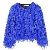 Xmiral Bluse Damen Einfarbig Plüsch Lange Ärmel Rundhals Sweatshirt Haarig Tops Fleece T-Shirt Slim Fit Streetwear Pullover Mantel(Blau,L)