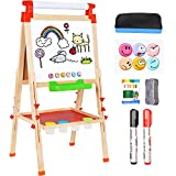 Amagoing Easel for Kids, 3 in 1 Wooden Magnetic Chalkboard and Dry Erase Board for Toddler Art Easel Adjustable with Paper Roll