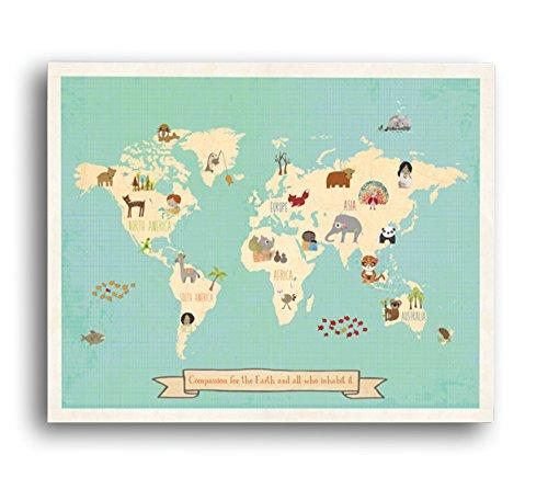 Nios Inspire Diseo Global de Compasin Mundial Map Pared Lmina, 24 'x 18'