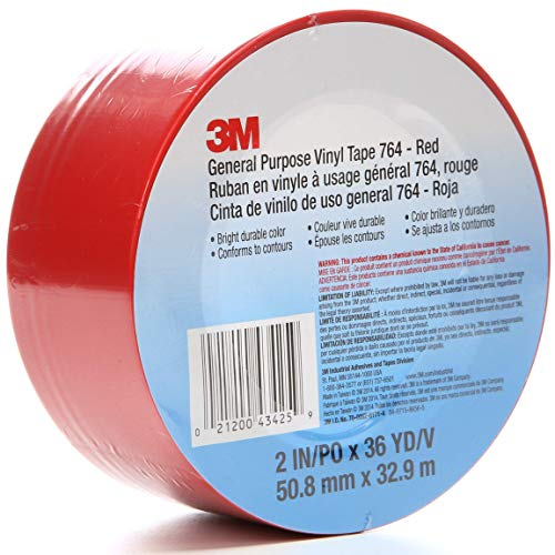 3M Vinyl Tape 764, General Purpose, 2 in x 36 yd, Red, 1 Roll, Light Traffic Floor Marking, Social Distancing, Color Coding, Safety, Bundling