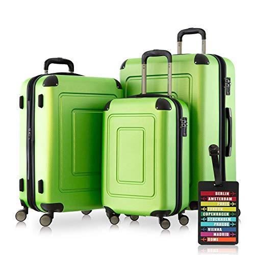 Happy Trolley - 3er Koffer-Set Trolley-Set Rollkoffer Hartschalen-Koffer Reisekoffer Lugano sehr...