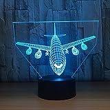 Maquette d'avion 3D photo Illusion Nuit Lumière LED Bureau Table Lampe 7 Couleur Tactile Lampe Maison Chambre Bureau Décor pour Enfants D'anniversaire De Cadeau