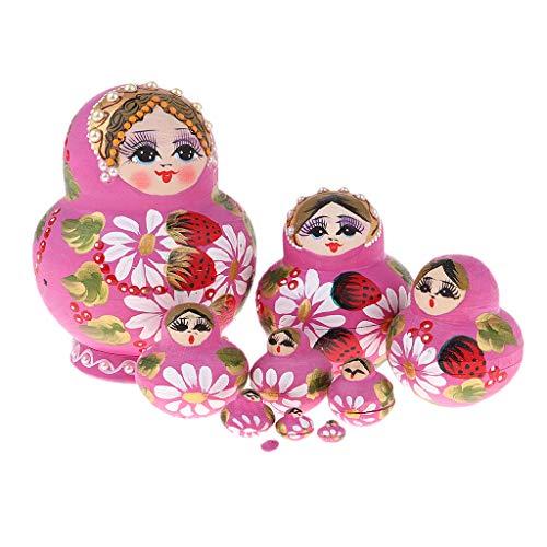 D DOLITY 10pcs Handgemacht Matrjoschka Matroschka Matruschka Russische Puppen Holzspielzeug - Mädchen -3