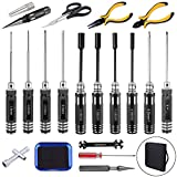 HobbyPark 19in1 RC Tool Kit Screwdriver Set (Flat/Phillips/Hex),Nut Socket Spanner Wrench Body Shell Reamer Repair Tools for RC Car Quadcopter Drone Helicopter Airplane