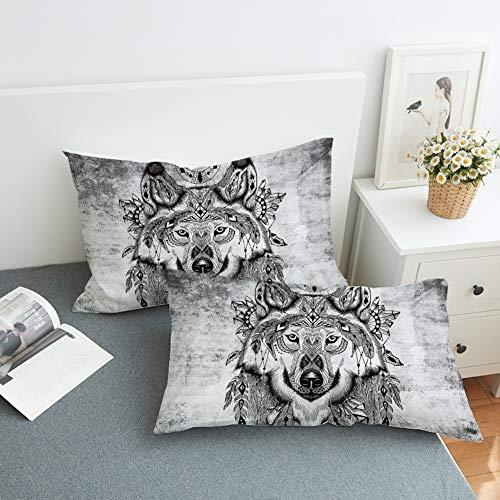 GD-SJK Kussensloop, mannelijke wolf, 50x75cm comfortabele rechthoekige kussensloop super zacht, kussensloop van polyestervezel, decoratieve sofa woonkamer, met ritssluiting