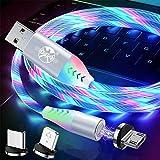 UGI 3-In-1-Magnet-3A-Schnellladekabel Kreative LED-Leuchte Micro-USB/IOS/Typ USB C-Datensynchronisierung Magnetisches Ladekabel Kompatibel mit Allen Geräten - Bunt/3.3ft