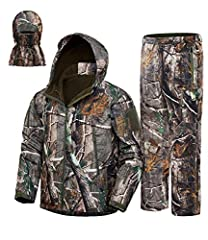 HUNTING SUIT: All Hunting Rain Suit includes a jacket and pant with purchase. Amazingly smooth-face polyester meets brushed interior fleece,with water resistant,windproof,breathable and thermal. CAMOUFLAGE: Designed our hunting parka pattern based on...