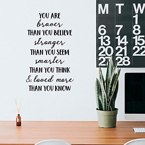 Vinyl Wall Art Decal - You are Braver Than You Believe - 28' x 17' - Inspirational Positive Self Esteem Quote Sticker for Bedroom Closet Living Room Kids Room Playroom Office Decor (Black)