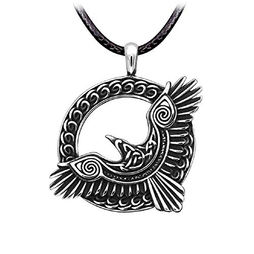 HAQUIL Raven Necklace - Stainless Steel, Celtic Flying Raven Medallion Pendant - PU Leather Cord, 23.6'