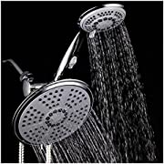 HotelSpa 30-setting Shower Heads Combo features 5-setting 7-inch Rainfall Shower Head and 6-setting 4-inch Hand Shower with ON/OFF Pause Switch. Use each shower separately or both together