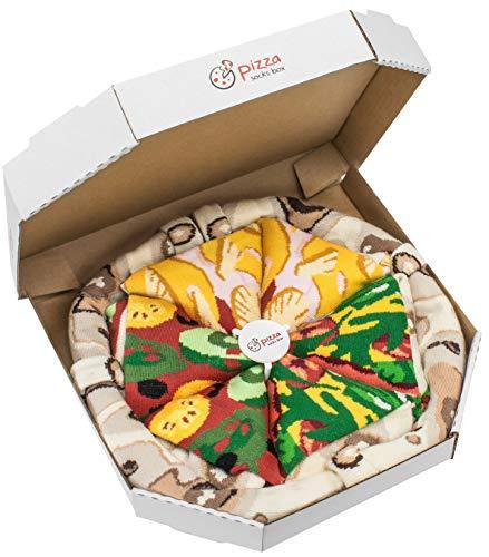 Rainbow Socks - Damen Herren Pizza Socken Box Mix Italienische Hawaii Vegetarische - 4 Paar - Größen 36-40