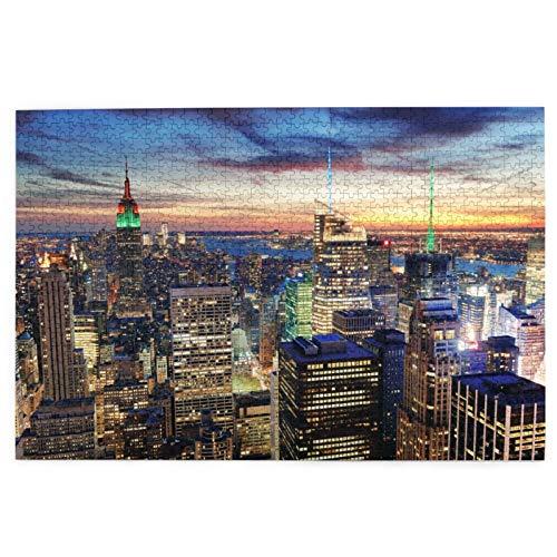 LINARUBE Rompecabezas de 1000 Piezas,Rompecabezas de imágenes,Fondo de Pantalla de New York View,Juguetes Puzzle for Adultos niños Interesante Juego Juguete Decoración para El Hogar