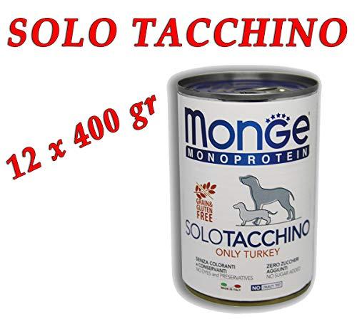 Monge Monoproteico Solo Tacchino Alimento Umido per Cani 12 X 400gr
