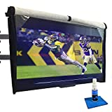 Outdoor TV Cover 60-65 inch - WITH FRONT FLAP, Weatherproof, Waterproof protection, Soft Interior, With Bottom cover + Screen cleaner & Microfiber cloth