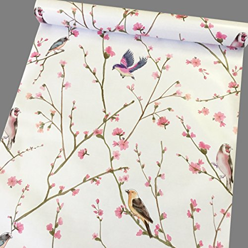Yifely Peel Stick Shelf Liner Removable Contact Paper for Covering Apartment Old Nightstand Closet Peach Birds 177 Inch By 98 Feet