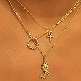 Acedre Ankh Choker Necklace Egyptian Pharaoh Layered Pendant Necklace Chains Gold Circle Beach Adjustable Necklaces Jewelr...