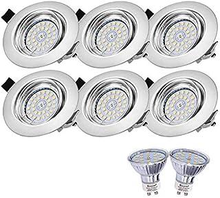 Lot de 6 Spots LED Encastrables Orientables Dimmables, Bojim Luminaires Encastrés GU10 6W Eqv.54W Blanc Chaud 2800K 600LM ...