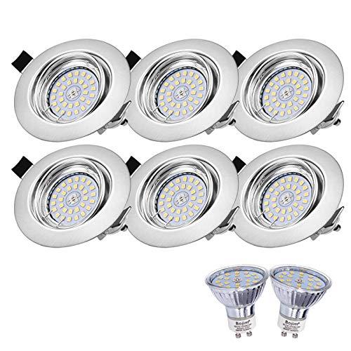 Faretti LED da incasso per cartongesso dimmerabile, Bojim 6× GU10 6W Luce Calda 2800K 600LM Pari a 54W 82RA IP20 230V, Faretti a led per interni Rotondo Orientabili di 30°Foro 68-80mm