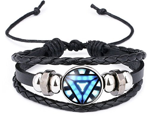 New Horizons Production Ironman Arc Reactor Logo Glass Domed Braided Leather Bracelet